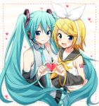 2girls :3 bare_shoulders black_skirt blonde_hair blue_eyes blue_hair blue_nails blue_neckwear blush breasts detached_sleeves eyebrows_visible_through_hair fingernails flat_chest frame grey_shirt hair_between_eyes hair_ornament hair_ribbon hairclip happy hatsune_miku headset heart heart_background heart_hands kagamine_rin long_hair multiple_girls musical_note nail_polish navel necktie number_tattoo pleated_skirt ribbon sailor_collar shirt short_hair shoulder_tattoo simple_background skirt sleeveless sleeveless_shirt small_breasts smile striped striped_background sudachi_(calendar) tattoo teeth treble_clef twintails upper_body upper_teeth very_long_hair vocaloid white_background white_ribbon white_shirt yellow_nails yellow_ribbon