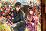 1boy 1girl black_hair blurry blurry_background book bow brown_hair closed_eyes day fan folding_fan glasses hair_bow hand_up hetero highres izumi_(stardustalone) japanese_clothes kimono long_hair looking_at_another original outdoors pink_kimono renri_no_chigiri_wo_kimi_to_shiru smile standing upper_body wide_sleeves