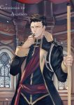 1boy black_hair church commission cross holding holding_cross holding_staff indoors julia_yit long_sleeves looking_at_viewer male_focus original rope rosary serious staff standing upper_body watermark window yellow_eyes
