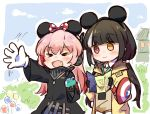 2girls amusement_park captain_america captain_america_(cosplay) cosplay cup disney disneyland drinking_straw girls_frontline gloves jacket m4_sopmod_ii_(girls_frontline) marvel mickey_mouse_ears multiple_girls plug_(feng-yushu) ro635_(girls_frontline) shield white_gloves