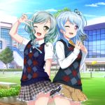 2girls ;d aqua_hair argyle_sweater_vest arm_behind_back bang_dream! blue_hair blue_neckwear blue_sweater_vest blush bow brown_skirt building collared_shirt commentary_request cowboy_shot green_eyes green_ribbon grey_skirt hair_bow hair_ribbon highres hikawa_hina kuusuke_(yo_suke39) long_sleeves matsubara_kanon multiple_girls neck_ribbon necktie one_eye_closed one_side_up open_mouth outdoors plaid plaid_skirt ribbon school_uniform shirt short_sleeves side_braids skirt smile steepled_fingers sweater_vest v_over_eye violet_eyes white_shirt yellow_bow yellow_neckwear