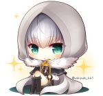 1girl :o add_(lord_el-melloi_ii) ahoge bangs birdcage black_capelet black_dress black_legwear blush brown_footwear cage capelet chibi colored_shadow commentary_request dress eyebrows_visible_through_hair fate_(series) full_body fur-trimmed_capelet fur_trim gray_(lord_el-melloi_ii) green_eyes hair_between_eyes hood hood_up kneehighs looking_at_viewer lord_el-melloi_ii_case_files parted_lips shadow shoes silver_hair sitting solo sparkle twitter_username white_background yukiyuki_441