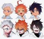 >:p >:q 1girl 2boys ahoge black_hair blue_eyes closed_mouth emma_(yakusoku_no_neverland) green_eyes hair_ribbon ke02152 looking_at_another looking_at_viewer multiple_boys neck_tattoo norman_(yakusoku_no_neverland) number_tattoo open_mouth orange_hair pullover ray_(yakusoku_no_neverland) ribbon shirt short_hair simple_background smile tattoo teeth tongue white_background white_hair white_shirt yakusoku_no_neverland