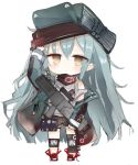 1girl arm_up assault_rifle bangs bare_shoulders black_shorts brown_eyes chibi commentary_request eyebrows_visible_through_hair flat_cap full_body g11_(girls_frontline) girls_frontline green_hair green_headwear green_jacket gun h&k_g11 hair_between_eyes hat holding holding_gun holding_weapon jacket kotatu_(akaki01aoki00) long_hair long_sleeves object_namesake off_shoulder open_clothes open_jacket red_footwear rifle shoes short_shorts shorts simple_background sleeves_past_wrists solo standing tank_top very_long_hair weapon white_background white_tank_top