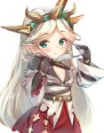 1girl aqua_eyes bodysuit breasts center_opening dress eyewear_removed glasses granblue_fantasy hairband harvin long_hair lowres pointy_ears small_breasts very_long_hair white_background white_hair zahlhamelina