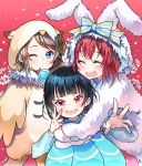 3girls ;o ^_^ animal_costume animal_ears animal_hood artist_name bangs black_hair blue_bow blue_eyes blush bow brown_gloves brown_hair bun_cover bunny_costume cherry_blossoms child closed_eyes closed_eyes cosplay fang fur gloves hair_bow hood hood_up hug hyugo jellyfish_costume kigurumi kurosawa_ruby love_live! love_live!_sunshine!! multiple_girls one_eye_closed owl_costume rabbit_ears red_background red_eyes redhead salute striped striped_bow tsushima_yoshiko v-shaped_eyebrows v_over_eye watanabe_you younger