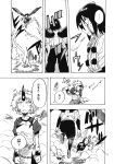 2girls blood blood_on_face chains comic cuffs greyscale highres horn hoshiguma_yuugi japanese_clothes long_sleeves monochrome multiple_girls munakata_(sekimizu_kazuki) oni oni_horns page_number pants pom_pom_(clothes) scan shackles shameimaru_aya shirt short_hair shorts skirt spiky_hair t-shirt torn_clothes touhou translation_request wings