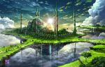 above_clouds bird building cathedral clouds cloudy_sky commentary day fantasy floating_island flock highres huge_filesize istanbul light_rays no_humans original outdoors palm_tree road scenery sky sun sunbeam sunlight tokyogenso tower tree water waterfall
