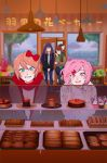 4girls :d against_glass bakery black_jacket black_legwear blue_eyes blue_sky blush bow bread brown_hair cake closed_eyes closed_mouth cookie croissant cupcake cute denim doki_doki_literature_club enzouke flower_pot food fur-trimmed_jacket fur_trim green_eyes green_scarf grey_jacket hair_bow hair_intakes hair_ornament hairclip indoors jacket jeans lamp leaning_back long_hair monika_(doki_doki_literature_club) multiple_girls natsuki_(doki_doki_literature_club) open_mouth orange_hair pants pantyhose pink_eyes red_bow red_scarf sayori_(doki_doki_literature_club) scarf shirt shop short_hair sky smile sweater team_salvato tree two_side_up umbrella white_bow white_shirt white_sweater wooden_floor yuri_(doki_doki_literature_club)