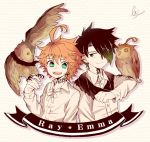 1boy 1girl 728ret :p ahoge animal bird black_hair braid character_name emma_(yakusoku_no_neverland) green_eyes hair_over_one_eye long_sleeves looking_at_another neck_tattoo number_tattoo open_mouth orange_hair owl ray_(yakusoku_no_neverland) scarf shirt short_hair signature simple_background skirt smile standing tattoo tongue tongue_out white_background white_shirt white_skin white_skirt yakusoku_no_neverland