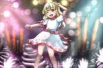 1girl ;d arms_up bangs blonde_hair blunt_bangs blurry blurry_background blush bokeh brown_eyes commentary_request contrapposto dark_skin depth_of_field earlobes ebisu_eika eyebrows_visible_through_hair feet_out_of_frame ghost hand_to_head holding_rock juuni_05 light_particles looking_at_viewer medium_hair one_eye_closed open_mouth outstretched_arm polka_dot_skirt puffy_short_sleeves puffy_sleeves rock shirt short_sleeves skirt smile solo sparkle stack standing touhou v white_shirt white_skirt