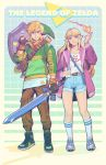1boy 1girl bangs blonde_hair blue_eyes blush bracer circlet contemporary earrings fire full_body hat highres jacket jewelry link long_hair looking_at_viewer master_sword necklace nintendo pointy_ears radiostarkiller shoes short_shorts shorts simple_background smile socks sword the_legend_of_zelda the_legend_of_zelda:_a_link_between_worlds triforce weapon