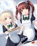2girls :d alternate_costume apron black_dress blonde_hair blue_sky blush bow breasts brown_eyes brown_hair clouds collared_dress commentary_request cookie cup curtains day dress dutch_angle enmaided food frilled_apron frills garter_straps green_bow green_eyes hair_ornament hair_over_shoulder highres holding holding_tray idolmaster idolmaster_cinderella_girls indoors long_hair looking_at_viewer low_twintails maid maid_apron maid_headdress multiple_girls ogata_chieri open_mouth puffy_short_sleeves puffy_sleeves saucer short_sleeves sky small_breasts smile tea teacup thigh-highs transparent tray twintails u2_(5798239) white_apron white_legwear window yusa_kozue