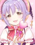 1girl :3 absurdres artist_name blush bow brown_eyes eyebrows_visible_through_hair hair_ornament hairclip heart heart_hair_ornament highres idolmaster idolmaster_cinderella_girls koshimizu_sachiko looking_at_viewer open_mouth puffy_short_sleeves puffy_sleeves purple_hair red_bow short_hair short_sleeves signature sketch smile solo yui_(spica)