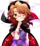 1girl ;) bangs black_cape black_headwear bow brown_eyes brown_hair cape commentary eyebrows_visible_through_hair fedora finger_to_mouth glasses hat hat_bow high_collar index_finger_raised long_sleeves looking_at_viewer naruki_(kaminari) one_eye_closed pink_bow plaid plaid_skirt plaid_vest purple_skirt purple_vest red-framed_eyewear shirt short_hair simple_background skirt skirt_set smile solo symbol_commentary touhou upper_body usami_sumireko vest white_background white_shirt