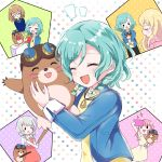>_o :d \o/ ^_^ animal aqua_hair arms_up bang_dream! bangs blue_jacket blush blush_stickers braid brown_hair cellphone closed_eyes commentary_request dress food french_fries glasses goggles goggles_on_head grey_hair highres hikawa_hina holding holding_animal holding_phone jacket jewelry kaeru_(pau777) long_hair long_sleeves maruyama_aya mole_(animal) multiple_views notice_lines one_eye_closed open_mouth outstretched_arms pastel_palettes pendant phone pink_shirt polka_dot polka_dot_background red_dress self_shot shirasagi_chisato shirt short_hair side_braids smartphone smile solid_circle_eyes sparkle spoilers sweatdrop twin_braids v-shaped_eyebrows wakamiya_eve yamato_maya yellow_dress yellow_shirt