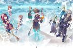 1girl 2boys animal_hood baggy_pants barefoot blue_eyes blue_sky boots brown_hair clouds eating english_text food food_in_mouth fruit highres holding holding_weapon hood hood_up hooded_jacket jacket jewelry kairi_(kingdom_hearts) keyblade kingdom_hearts kingdom_hearts_i kingdom_hearts_ii kingdom_hearts_iii looking_at_viewer looking_to_the_side multiple_boys necklace nikusenpai pants paopu_fruit partially_submerged redhead riku shooting_star short_hair silver_hair sitting sky sora_(kingdom_hearts) spiky_hair standing transparent water waves weapon