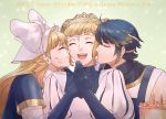 1boy 2girls ahoge alfonse_(fire_emblem) alternate_costume blonde_hair blue_hair blush brother_and_sister cake cheek_kiss closed_eyes commentary crown double_bun english_commentary english_text eyebrows_visible_through_hair fire_emblem fire_emblem_heroes food food_on_face gloves gradient_hair hair_ornament hair_ribbon henriette_(fire_emblem) highres kiss long_hair mother's_day mother_and_daughter mother_and_son multicolored_hair multiple_girls nintendo open_mouth ribbon rokusashu sharena short_hair siblings smile