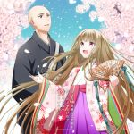 1boy 1girl :d bald blue_sky brown_hair day fan floral_print folding_fan grey_eyes long_hair looking_up novel_illustration official_art open_mouth outdoors paper_fan petals red_eyes sky smile standing very_long_hair wide_sleeves yomo_(rb_crr)