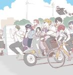 achilles_(fate) bag beard bicycle bicycle_basket carrying facial_hair fate/grand_order fate_(series) fedora flying fujimaru_ritsuka_(male) fuuma_kotarou_(fate/grand_order) glasses ground_vehicle hat ibaraki_douji_(fate/grand_order) minamoto_no_raikou_(fate/grand_order) mo_(kireinamo) motor_vehicle okada_izou_(fate) oni_horns oryou_(fate) penthesilea_(fate/grand_order) police police_uniform policewoman reading rider_(fate/zero) riding running sakamoto_ryouma_(fate) sakata_kintoki_(fate/grand_order) scared school_bag school_uniform scooter shoes shuten_douji_(fate/grand_order) sneakers sunglasses uniform waver_velvet yan_qing_(fate/grand_order)