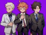 1girl 2boys ahoge belt black_hair blue_eyes blue_shirt bow bowtie buttons closed_mouth emma_(yakusoku_no_neverland) formal green_eyes grey_shirt holding jacket ke02152 long_sleeves looking_at_viewer looking_to_the_side multiple_boys neck_tattoo necktie norman_(yakusoku_no_neverland) number_tattoo orange_hair pants purple_background ray_(yakusoku_no_neverland) shirt short_hair simple_background suit tattoo white_hair white_shirt yakusoku_no_neverland