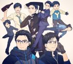 1boy ^_^ black_gloves black_hair blue-framed_eyewear bottle brown_eyes child closed_eyes closed_eyes collared_shirt earphones earphones glasses gloves hair_slicked_back ice_skates jacket katsuki_yuuri male_focus multiple_persona necktie shirt skates smile standing standing_on_one_leg takeshi_(mononohu20) track_jacket younger yuri!!!_on_ice