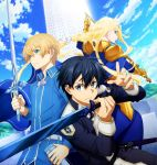1girl 2boys alice_schuberg eugeo highres kirito multiple_boys sword sword_art_online sword_art_online_alicization tagme weapon