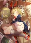 1girl absurdres ahoge bangs blonde_hair blue_cardigan blue_eyes blush book bow bowtie cardigan character_name commentary_request grey_legwear hair_between_eyes hair_bow high_heels highres huge_filesize indoors king's_raid kneehighs looking_at_viewer lying maritaki mary_janes medium_hair on_side open_cardigan open_clothes open_mouth papers pleated_skirt red_bow red_footwear red_neckwear sailor_collar shirt shoes skirt white_sailor_collar white_shirt white_skirt wooden_floor