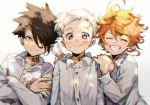 1girl 2boys :p ahoge black_eyes black_hair blue_eyes blush buttons closed_eyes emma_(yakusoku_no_neverland) hair_over_one_eye ke02152 long_sleeves looking_at_viewer multiple_boys neck_tattoo norman_(yakusoku_no_neverland) number_tattoo open_mouth orange_hair photo ray_(yakusoku_no_neverland) shirt short_hair simple_background sketch smile tattoo teeth tongue tongue_out white_background white_hair white_shirt yakusoku_no_neverland