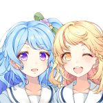 2girls ;d bang_dream! blonde_hair blue_hair collarbone commentary_request eyebrows_visible_through_hair flower hair_flower hair_ornament hair_ribbon highres matsubara_kanon medium_hair multiple_girls one_eye_closed open_mouth ponytail ribbon sailor_collar school_uniform serafuku side-by-side simple_background smile tsugaru_(enoken) tsurumaki_kokoro upper_body upper_teeth violet_eyes white_background white_sailor_collar yellow_eyes