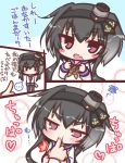 1girl anchor anchor_symbol black_hair black_legwear brown_eyes comic commentary_request dress gradient_hair grey_hair hat kantai_collection komakoma_(magicaltale) long_sleeves mini_hat multicolored_hair pantyhose sailor_collar sailor_dress short_hair short_hair_with_long_locks sidelocks speech_bubble tokitsukaze_(kantai_collection) translation_request two_side_up