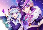 2girls :d arm_around_shoulder bang_dream! blue_bow blue_hair blue_headwear blue_ribbon book bow brooch cane center_frills choker crescent cross-laced_clothes earrings flower fur_collar hair_between_eyes hair_bow hair_flower hair_ornament hair_over_shoulder hair_ribbon hat hat_bow horn_flower horns jewel-topped_staff jewelry long_hair long_sleeves looking_at_viewer low-tied_long_hair matsubara_kanon minori_(faddy) mob_cap monocle multiple_girls open_book open_mouth pink_bow pink_flower pink_neckwear pink_rose purple_flower purple_hair purple_rose red_eyes ribbon rose seta_kaoru sheep_horns smile sparkle_print star star_earrings top_hat upper_body white_choker
