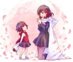 2girls black_hair cape cloak flower gradient_hair grey_eyes highres hood hooded_cloak iesupa mother_and_daughter multicolored_hair multiple_girls petals redhead rose ruby_rose rwby short_hair skirt sleeveless_jacket smile summer_rose