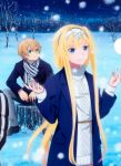 1boy 1girl alice_schuberg eugeo highres snowing sword_art_online sword_art_online_alicization tagme
