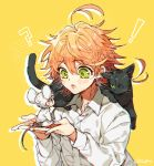 ! 1girl 2boys :o ? ahoge animal animal_ears animal_on_shoulder artist_name black_hair blush cat cat_ears cat_on_shoulder cat_tail ears emma_(yakusoku_no_neverland) green_eyes holding holding_animal long_sleeves looking_at_another mouse mouse_ears mouse_tail multiple_boys neck_tattoo norman_(yakusoku_no_neverland) open_mouth orange_hair personification ray_(yakusoku_no_neverland) sapphire_4825 seiza shirt short_hair simple_background sitting surprised tail tattoo white_shirt yakusoku_no_neverland yellow_background