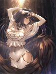 1girl absurdres albedo bare_shoulders black_hair black_wings blush breasts cleavage commentary_request demon_girl demon_horns demon_wings dress eyebrows_visible_through_hair feathered_wings hair_between_eyes highres horns large_breasts long_hair looking_at_viewer navel overlord_(maruyama) parted_lips rausu_(undeadmachine) slit_pupils smile solo teeth white_dress wings yellow_eyes