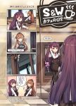 2girls 4koma bangs black_dress black_footwear black_legwear blush boots bow braid breasts brown_eyes brown_hair character_name closed_mouth collared_shirt comic commentary_request dress eyebrows_visible_through_hair girls_frontline hair_between_eyes hair_bow highres holding holding_tray long_hair long_sleeves m1903_springfield_(girls_frontline) medium_breasts multiple_girls one_side_up pantyhose pixiv_id purple_hair red_bow red_eyes shirt sleeveless sleeveless_dress smile table tama_yu tile_floor tiles translation_request tray uniform very_long_hair wa2000_(girls_frontline) waitress watermark web_address white_shirt