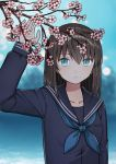 1girl arm_up bangs black_shirt blue_eyes blue_neckwear blue_sailor_collar blurry blurry_background breasts brown_hair closed_mouth commentary_request depth_of_field eyebrows_visible_through_hair flower hair_between_eyes kurata_rine long_hair long_sleeves looking_at_viewer neckerchief original pink_flower sailor_collar school_uniform serafuku shirt small_breasts solo tree_branch upper_body