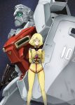 1girl blonde_hair bodysuit commentary_request gun gundam helmet mecha mobile_suit_gundam sayla_mass shield short_hair solo spacesuit tsunashima_shirou weapon