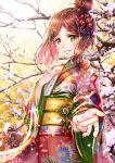 1girl bangs brown_hair cherry_blossoms day floating_hair grin hair_bun hair_ornament highres japanese_clothes kimono long_hair long_sleeves looking_at_viewer multicolored_hair original outdoors parted_bangs pink_hair print_kimono sho_(sumika) short_hair smile solo two-tone_hair wide_sleeves yellow_eyes