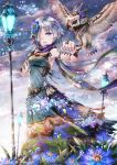 1girl bird bird_on_hand blue_dress blue_eyes blue_flower bridal_gauntlets day dress flower hair_over_one_eye highres jewelry layered_dress long_dress looking_at_viewer original outdoors parted_lips purple_scarf ring scarf sho_(sumika) short_hair silver_hair sleeveless sleeveless_dress solo standing