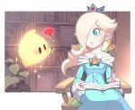 1girl aqua_dress bare_shoulders blonde_hair blue_eyes book bookshelf chiko_(mario) crown dress earrings fingernails flower hair_over_one_eye jewelry long_hair long_sleeves mario_(series) mother's_day nail_polish nintendo off-shoulder_dress off_shoulder omochi_(glassheart_0u0) outline parted_lips pink_nails plant red_flower rosalina sitting sleeves_past_wrists sparkle super_mario_galaxy wide_sleeves
