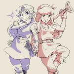 2girls bandanna belt boots cadence_(necrodancer) cadence_of_hyrule circlet crypt_of_the_necrodancer earphones hair_intakes highres interlocked_fingers long_hair looking_at_viewer multiple_girls nintendo pointy_ears princess_zelda shared_earphones short_sleeves shovel smile standing standing_on_one_leg stup-jam the_legend_of_zelda tunic