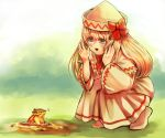 1girl blonde_hair blue_eyes blurry blurry_background blush bow chipmunk commentary_request day dress eyebrows_visible_through_hair grass hair_between_eyes hands_on_own_face hat hat_bow highres hole lily_white long_hair looking_down open_mouth outdoors pink_footwear reika_winter shadow solo spring_(season) squatting squirrel touhou very_long_hair white_dress white_headwear