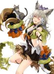 1girl :3 ;3 ;d absurdres animal animal_ears animal_on_head bangs bare_shoulders bell bell_collar bow cat cat_on_head claw_(weapon) claws collar collarbone erune fang flower granblue_fantasy grey_hair hair_flower hair_ornament highres hip_vent hizuki_miya leg_up long_hair multiple_cats on_head one_eye_closed open_mouth sen_(granblue_fantasy) shoes smile weapon white_background