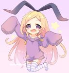1girl :d arm_up bangs black_ribbon blonde_hair blush collarbone drawstring eyebrows_visible_through_hair forehead full_body hair_ribbon hand_up hood hood_down hoodie long_hair long_sleeves looking_at_viewer marshmallow_mille monster_strike no_shoes open_mouth pandora_(monster_strike) parted_bangs purple_background purple_hoodie red_eyes ribbon simple_background sleeves_past_fingers sleeves_past_wrists smile solo star starry_background striped striped_legwear thigh-highs twitter_username very_long_hair