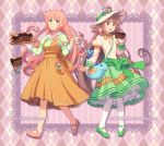 apron argyle argyle_background artist_name bow brown_eyes brown_hair buttons cake crossover cuffs cup dav-19 diamond_(shape) dog dress drink english_text everyone fairy flower food full_body green_bow green_eyes green_footwear green_skirt hanato_kobato happy hat holding holding_drink holding_food ioryogi jinrui_wa_suitai_shimashita kobato. lace long_hair long_sleeves mary_janes open_mouth pantyhose pink_footwear pink_hair puffy_sleeves ribbon sailor_collar shoes skirt smile standing stuffed_animal stuffed_dog stuffed_toy sweets teacup text_focus tray watashi watashi_(jintai) watermark web_address white_headwear white_legwear