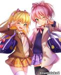 2girls ;) ;d bag black_legwear blonde_hair blue_cardigan blush bow bowtie brown_jacket coat collared_shirt fangs floating_hair green_eyes grey_coat hair_bow highres holding holding_bag idolmaster idolmaster_cinderella_girls idolmaster_cinderella_girls_starlight_stage jacket jougasaki_mika jougasaki_rika long_hair long_sleeves looking_at_viewer miniskirt multiple_girls namidako neck_ribbon one_eye_closed open_clothes open_coat open_jacket open_mouth orange_skirt pink_bow pink_hair pink_neckwear plaid plaid_skirt ponytail purple_skirt red_ribbon ribbon school_bag shirt simple_background skirt smile standing striped striped_bow striped_neckwear sweater thigh-highs twintails twitter_username very_long_hair w white_background white_legwear white_shirt white_sweater wing_collar yellow_eyes zettai_ryouiki