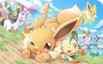 :d :o ;d blue_eyes blue_sky blush brown_eyes clouds creatures_(company) day dutch_angle eevee espeon flareon forehead_jewel game_freak gen_1_pokemon gen_2_pokemon gen_4_pokemon gen_6_pokemon glaceon grass jolteon leafeon looking_at_viewer motion_lines nintendo no_humans one_eye_closed open_mouth outdoors pokemon pokemon_(creature) red_eyes sky smile sweatdrop sylveon tripping umbreon vaporeon wataametulip
