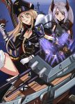 2girls 5boys absurdres azur_lane bangs bismarck_(azur_lane) black_legwear blonde_hair blue_eyes breasts charleianbrown cleavage drum drum_set drumsticks electric_guitar eyebrows_visible_through_hair finger_to_mouth flag flag_print gloves guitar hair_between_eyes hat headgear highres instrument iron_cross long_hair military military_uniform mole mole_on_breast multicolored_hair multiple_boys multiple_girls prinz_eugen_(azur_lane) redhead rigging rock_band sabaton_(band) sideboob silver_hair streaked_hair sunglasses two_side_up uniform
